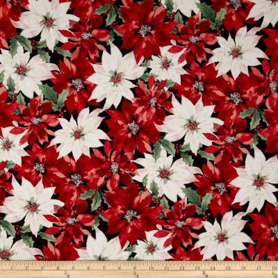 Festive Flora Metallic Packed Poinsettias Onyx/Silver