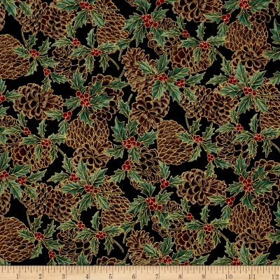 Berries and Blooms Metallic Pine Cones Black/Gold