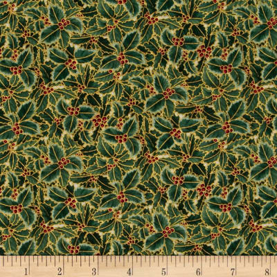 Berries and Blooms Metallic Packed Holly Natural/Gold
