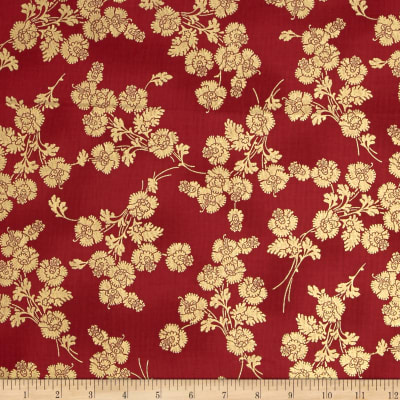 Berries and Blooms Metallic Foil Floral Red/Gold