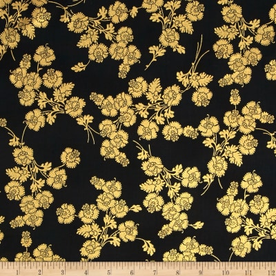 Berries and Blooms Metallic Foil Floral Black/Gold