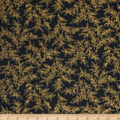 Snowy Peak Metallic Mistletoe Black/Gold