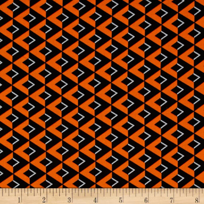 Moda Midnight Masquerade Chevrons on the Side Bittersweet Orange