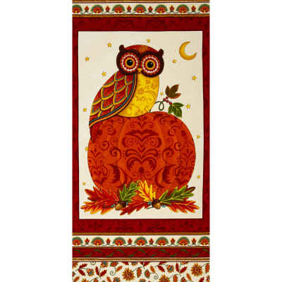 Moda Forest Fancy 24 In. Owl Panel Berry Red