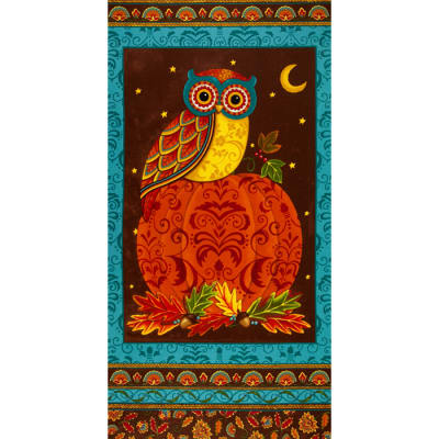 Moda Forest Fancy 24 In. Owl Panel Autumn Teal