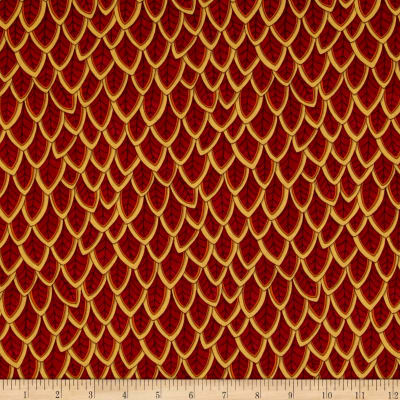 Moda Forest Fancy Fanciful Feathers Berry Red