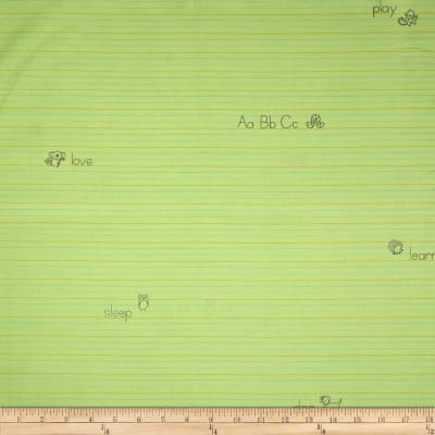 Animal ABCs Medium Stripe Organic Cotton Lime