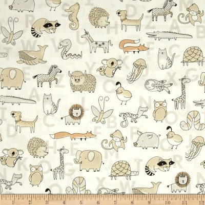 Animal ABCs Toile Organic Cotton White