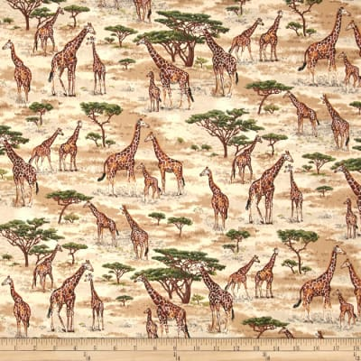 Safari Giraffes Brown/Green