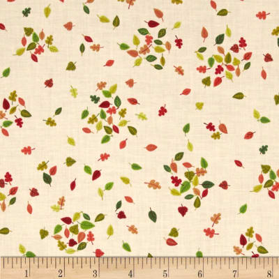 Forest Friends Fallen Leaves Pink/Green/Red