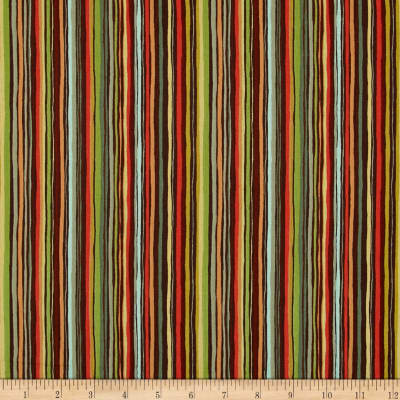 Forest Friends Stripe Red/Brown/Gold/Green