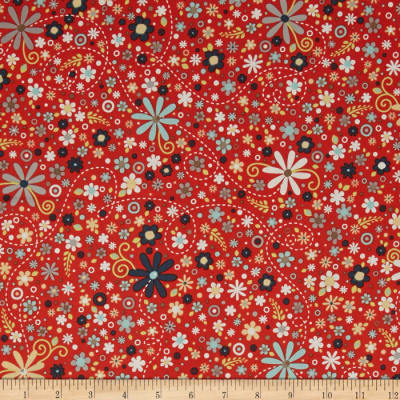 ADORNit Nested Owls Daisy Spray Red