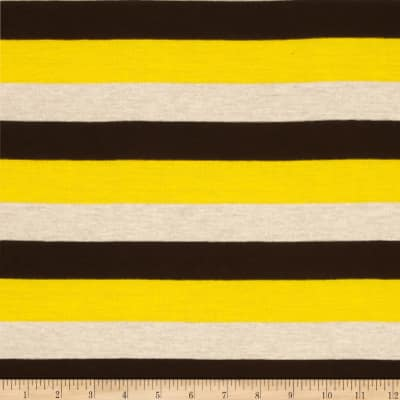 Rayon Jersey Knit Stripes Yellow/Brown/Beige