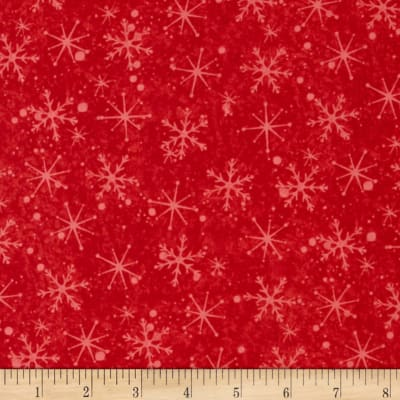 Santa's On His Way Tonal Snowflakes Light Red
