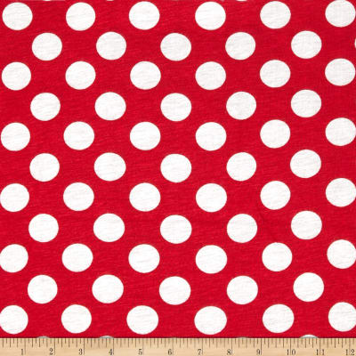 Rayon Jersey Knit Dots Red/White