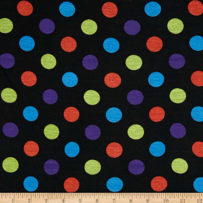 Rayon Jersey Knit Dots Black/Purple/Orange