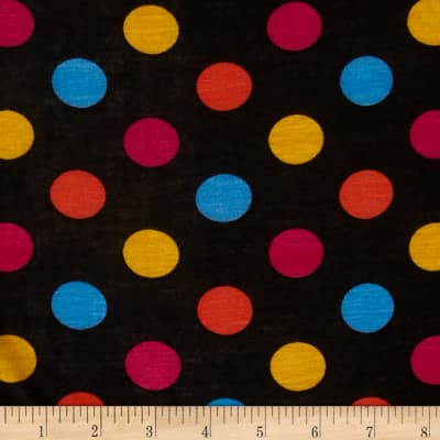 Rayon Jersey Knit Dots Black/Blue/Orange