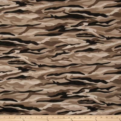 Soft Slub Jersey Knit Camo Black/Tan/Olive