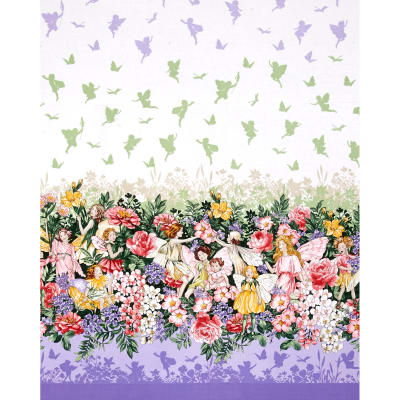 Michael Miller Flower Fairies Dreamland Dream Single Border Glitter Metallic Blossom