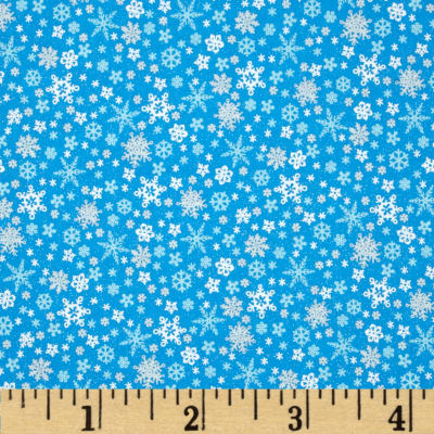 Let It Snow Glitter Multi Snowflake Blue