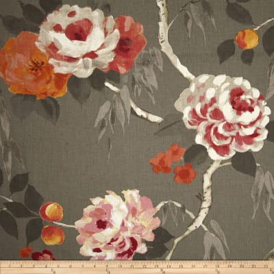 Hamilton Peaches Floral Linen Blend Charcoal