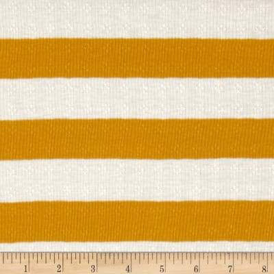 Pointelle Rib Knit Stripes Gold/White