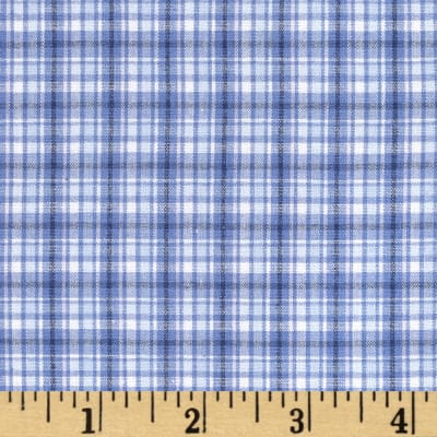 Stretch Yarn Dyed Shirting Plaid Blue/White