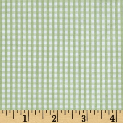 Cotton Poly Broadcloth Checkerboard Green/White