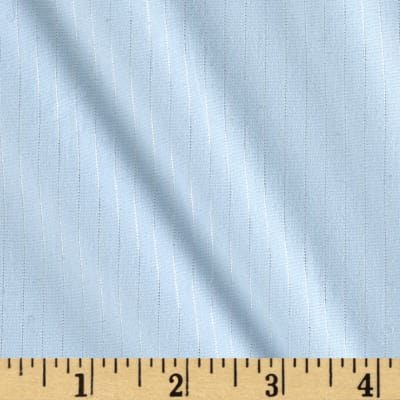 Stretch Cotton Poplin Silver Stripe Blue