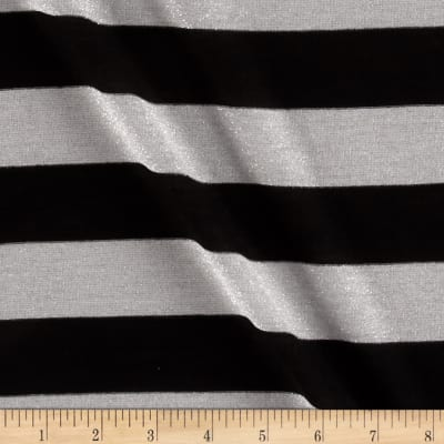 Metallic Stripe Jersey Knit Silver/Black