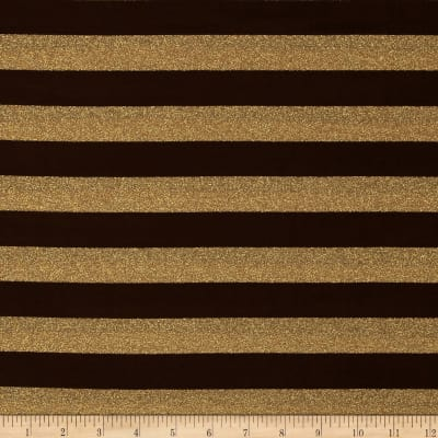 Stretch Metallic Jersey Knit Stripes Brown/Gold