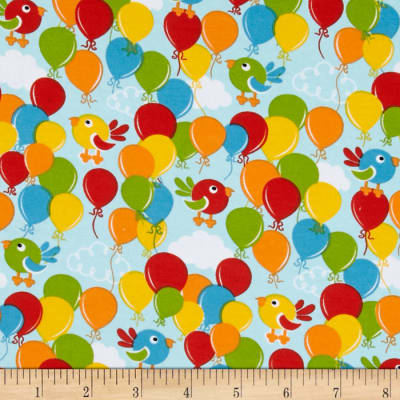 Birds & Balloons Stretch Cotton Jersey Knit Multi