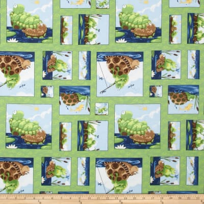 Susybee Paul & Sheldon Gone Fishing Patchwork Green