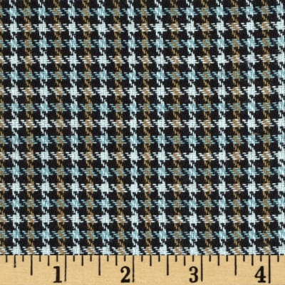 Small Woven Houndstooth Brown/White/Blue