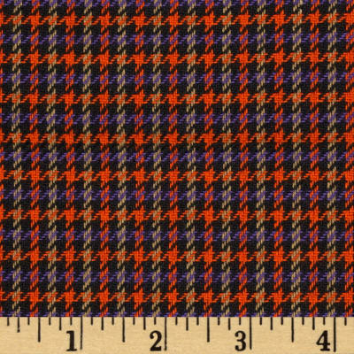 Small Woven Houndstooth Black/Orange/Purple