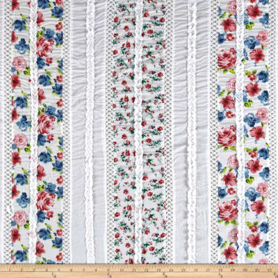Vintage Cuts Patchwork Lawn White/Red/Blue