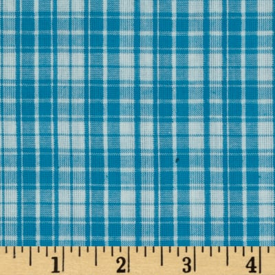 Seersucker Plaid Aqua/White