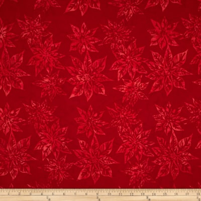 Bali Batiks Handpaints Poinsettias Cherry