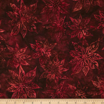 Bali Batiks Handpaints Poinsettias Bordeaux