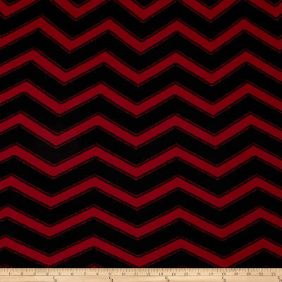 Pique Double Knit Chevron Black/Maroon