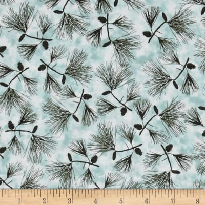 Quilting Treasures Native Pine Pine Boughs Teal Blue