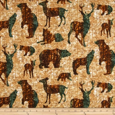 Aspen Ridge Flannel Forest Animals Tan