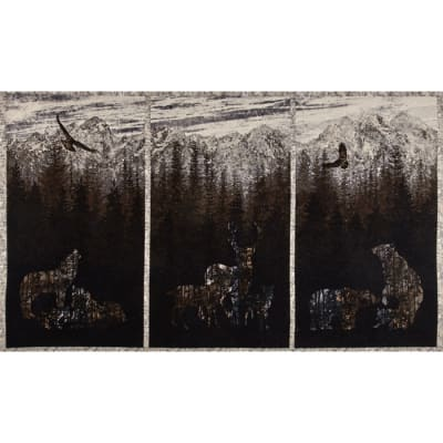 Aspen Ridge Flannel Deer Panel Slate