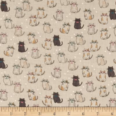Double Gauze Little Kitties Ivory