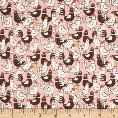 Double Gauze Little Chickens Pink