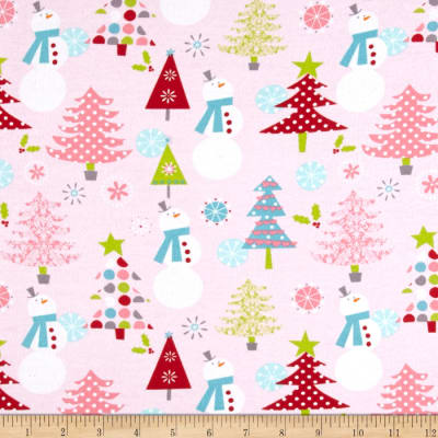 Riley Blake Cotton Jersey Snow Man Pink