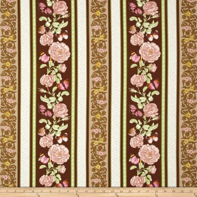 Butterfly Botanical Wallpaper Stripe Tan