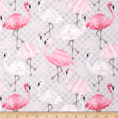 Timeless Treasures Flamingos Grey