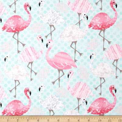 Timeless Treasures Flamingos Aqua