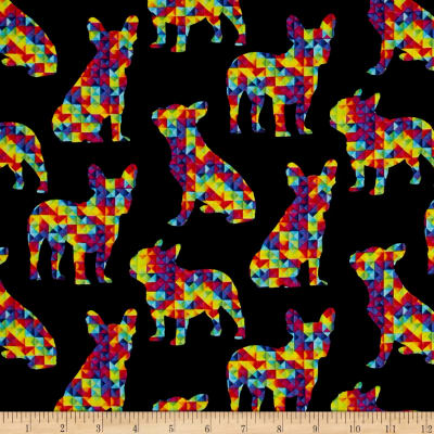 Timeless Treasures Patterned Pups Black